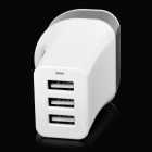 3-Port USB UK Plug AC Power Adapter for IPHONE + More - White + Black