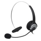 4-Pin RJ11 Noise-Proof Single Channel Microphone Headset for Telephone - Black + Silver