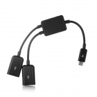 Micro USB Male to 2 x USB Female OTG Data Cable for Tablet PC - Black