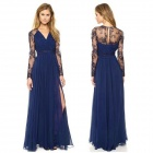 Sexy See-Through Lace Arm Deep V-Neck Dress w/ Long Skirt - Blue (L)