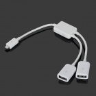 Micro USB macho a 2 x USB hembra OTG cable de datos para Tablet PC - blanco