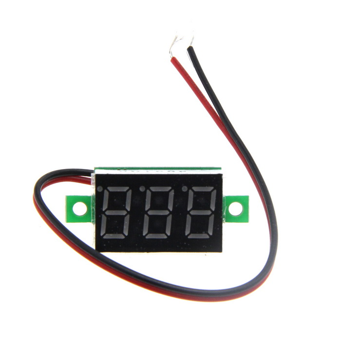 "DIY 0.36"" 3-Digit 2-Wire DC 4.5~30V Red Light LED Digital Voltmeter Voltage Display Module - Green"