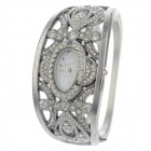 Women's Stylish Oval Dial Rhinestone-studded Analog + Digital Quartz Bracelet Watch - Silver