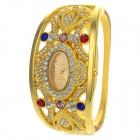 Women's Stylish Oval Dial Rhinestone-studded Analog + Digital Quartz Bracelet Watch - Silver + Gold