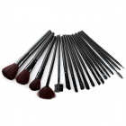 Professional 18-in-1 Cosmetic Makeup Wooden Handle Brushes Set w/ Bag - Black