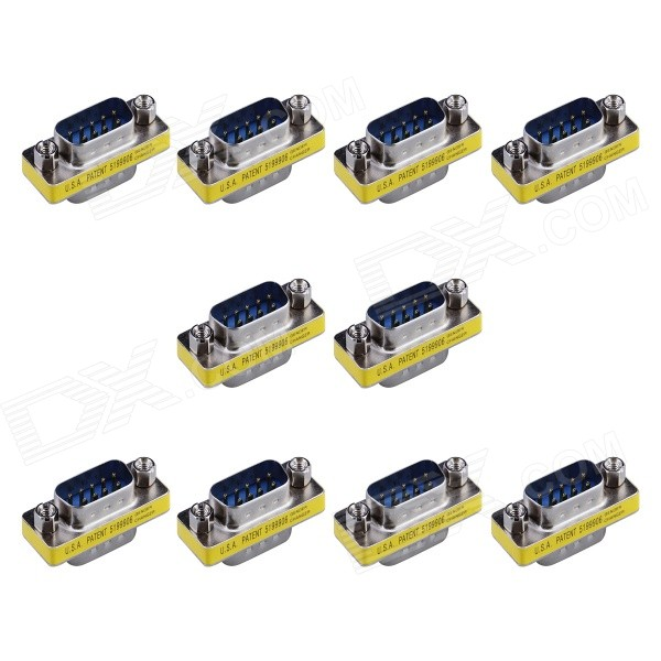 9-Pin VGA Male to VGA Male Mini Gender Changer Adapters - Silver + Yellow (10 PCS)