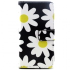 Daisy Pattern Flip-Open PU Leather Case w/ Holder + Card Slot for Samsung Galaxy S6 / G920 - Black