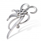 Xinguang Willow Flower Pattern White Crystals Inlaid Brooch - Silver