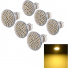 YouOKLight GU10 3W 300lm 3500K 60-SMD 3528 LED Warm White Spot Light Bulb (220V / 6 PCS)