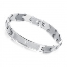Men's Laser Engraving Pattern Cross Spanish Bible Lord's Prayer Style Stainless Steel Bracelet