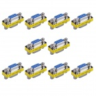 9-Pin VGA Female to VGA Female Mini Gender Changer Adapters - Silver + Yellow (10 PCS)