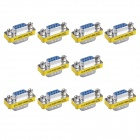 9-Pin VGA Male to VGA Female Adapter - Silver + Yellow (10 PCS)
