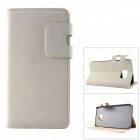 MO.MAT High Quality Leather Wallet Style Flip Open Case w/ Card Slots for Samsung Galaxy S6 - White