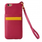 High Quality TPU + PU Leather Wallet Case w/ Card Slot / Strap for IPHONE 6 - Red