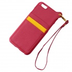 TPU + PU Leather Wallet Case w/ Card Slot / Strap for IPHONE 6 - Red