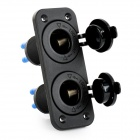 Car Motorcycle Modification Dual Cigarette Lighter Socket - Black