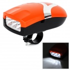 Multi-functional 3-LED White Bicycle Front Lamp + Bell Kit - Orange (3 x AAA)