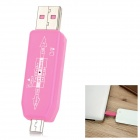 USB 2.0 HUB + OTG TF Card Reader Connection Kit for Samsung Galaxy S3 / S4 / S5 / Note 2 / 3 - Pink
