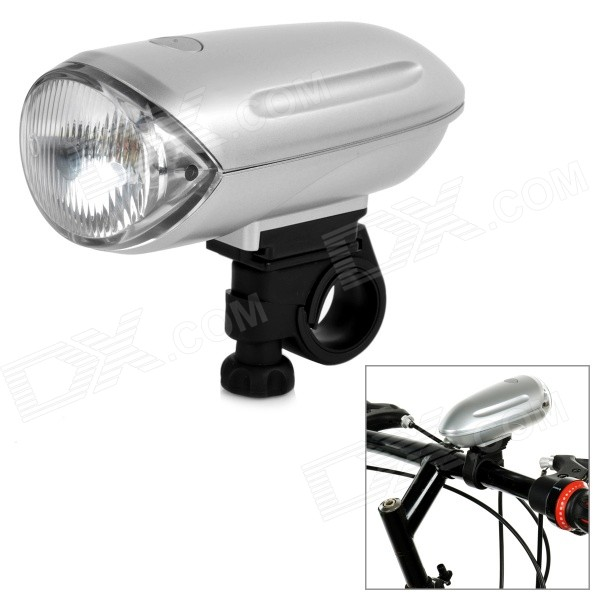 1*Krypton Yellow Light + 2-LED White Bicycle Front Light - Silver