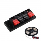 WP4-7 DIY Speaker Wire Clamp Terminal Blocks Four Wire Test Clip LED Light Clip - Red + Black
