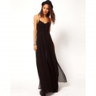 Fashion Women's Chiffon Sling Long Dress - Black (Size L)