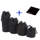 DSLR Camera Drawstring Soft Neoprene Lens Pouch Bag Cover for Sony Canon Nikon - Black (4 PCS)