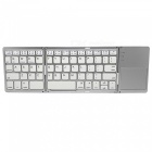 Portable Mini 3-Fold Universal Bluetooth v3.0 Keyboard w/ Mulmedia Key - White + Silver