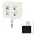Rechargeable 4-LED 3-Mode White Fill Light w/ 3.5mm Plug for Cell Phone - White