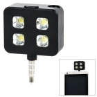 Rechargeable 4-LED 3-Mode White Fill Light w/ 3.5mm Plug for Cell Phone - Black