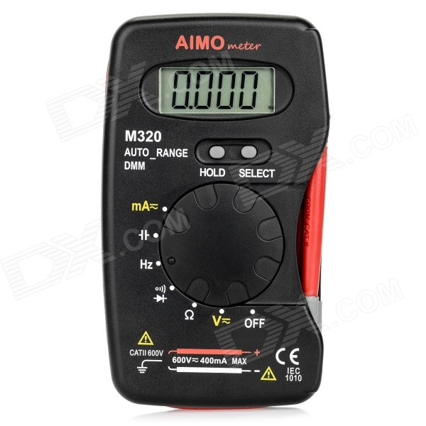Aimometer M320 Digital Handheld 1.5 LCD MultimeteMultimeters<br>Form  ColorBlack + RedModelM320Quantity1 DX.PCM.Model.AttributeModel.UnitMaterialIron + copper + ABSScreen Size1.5 DX.PCM.Model.AttributeModel.UnitMax. Display2000DC Voltage400mV/4V/40V/400V/600V ,±0.8%±3AC Voltage4V/40V/400V,±0.8%±4<br>600V ,±1.2%±3DC Current40mA/400mA,±2.0%±3 (Fuse: F500mA/250V)AC Current40mA/400mA,±3.0%±4 (Fuse: F500mA/250V)Resistance400/4k/40k/400k/4M,±1.0%±3<br>40M,±2.0%±3Capacitance Accuracy4nF,±5%±10<br>40nF,±4%±5<br>400nF/4F/40F/100F,±3%±3Frequency Accuracy10Hz/100Hz/1KHz/10KHz/100KHz,±1.5%±3Transistor TestNoTemperature TestNoFrequency TestYesPower Consumption TestNoShort-Circuit ProtectionYesShort Curcuit BuzzYesAuto Power OffYesPowered ByOthersBattery Number2Battery included or notYesOther FeaturesAuto range: Yes;<br>Specification of fuse for current input: 500mA/250V;<br>Low battery indication: Yes;<br>Diode: Yes;<br>Continuity: Yes;<br>Data hold: Yes;CertificationCEPacking List1 x Multimeter (47cm-leads)1 x English user manual<br>