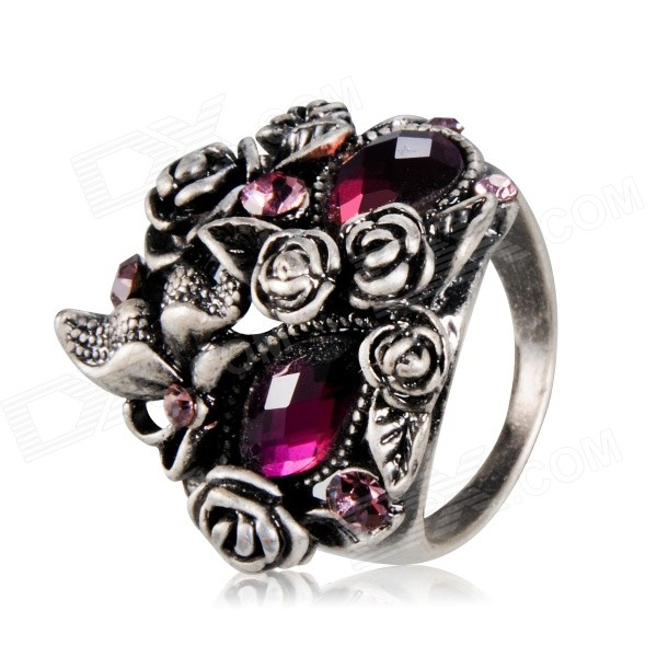 Xinguang Purple Crystals Mask Shape Ancient Ring - Silver (US Size 8)