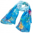Spring's Magpie Pattern Chiffon Scarf for Women - Blue