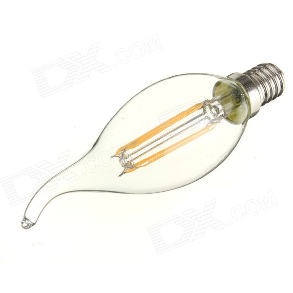E14 4W COB LED Filament Candle Bulb Warm White 3000K 360lm (AC 220V)