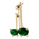 Giraffe Shape Green Zircon Inlaid Brooch - Golden