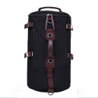 Outdoor Travel Cylinder Canvas Backpack Single Shoulder Bag Handbag - Black + Chocolate Color