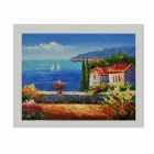 "Hand Painted ""Mediterranean Seascape"" Oil Painting - Blue + Green"