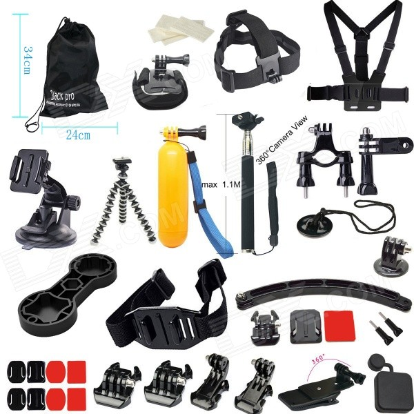 37-in-1 Outdoor Accessories Kit for Gopro Hero 4 / 3+ / 3 / 2 - BlackMounting Accessories<br>Form ColorBlack RedQuantity1 DX.PCM.Model.AttributeModel.UnitMaterialPlasticShade Of ColorBlackCompatible ModelsGoPro Hero 1,GoPro Hero 2,GoPro Hero 3,GoPro Hero 3+,GoPro Hero 4RetractableNoMax.Load1 DX.PCM.Model.AttributeModel.UnitPacking List1 x Chest strap1 x Headband1 x Helmet band6 x Anti-fog inserts1 x Large pouch1 x Suction cup1 x Octopus1 x Buoyancy stick1 x Self-timer lever1 x Bicycle clip1 x Safety buckle1 x Wrist band1 x Single shot3 x Bases1 x Adapter3 x Square fixing plates2 x Circular retainers3 x Square rubbers2 x Round plastics2 x J-mounts1 x Backpack clip1 x Lens cap1 x Wrench<br>