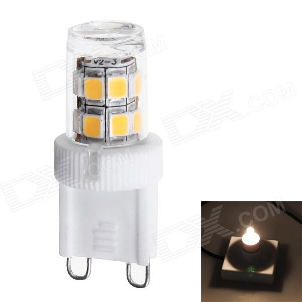 G9 2.3W 200lm 3000K 17-SMD 2835 LED Warm White Corn Bulbs (220V)G9<br>Form  ColorWhite + YellowColor BINWarm WhiteModelA0060MaterialCeramics + LEDQuantity1 DX.PCM.Model.AttributeModel.UnitPowerOthers,2.3WRated VoltageAC 220 DX.PCM.Model.AttributeModel.UnitConnector TypeG9Emitter TypeOthers,2835 SMD LEDTotal Emitters17Theoretical Lumens200 DX.PCM.Model.AttributeModel.UnitActual Lumens180-200 DX.PCM.Model.AttributeModel.UnitColor Temperature3000KDimmableNoBeam Angle360 DX.PCM.Model.AttributeModel.UnitPacking List1 x LED bulb<br>