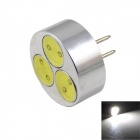 LED G4 3W 240lm 6000K 3-COB Small Spotlight White Light - Silver + Black (DC 12V)