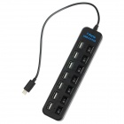 High Speed 7-Port USB 2.0 Hub w/ USB 3.0 Type-C Plug / Individual Switch - Black