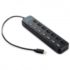 7-Port USB 2.0 Hub w/ USB 3.0 Type-C Plug / Individual Switch - Black