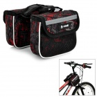 B-SOUL YA039 DIY Mountain Bicycle Bike Top Tube Saddle Double Bag - Black + Red