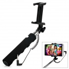 Universal Mini Retractable Handheld Selfie Monopod Holder w/ 3.5mm Audio Cable for Cellphone - Black