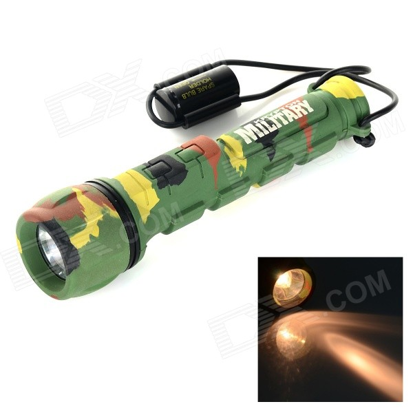 Military Krypton Bulb 10lm Yellow Light Diving Flashlight - CamouflageDiving Flashlights<br>Form  ColorACUQuantity1 DX.PCM.Model.AttributeModel.UnitMaterialABS plasticEmitter BrandOthers,Krypton bulbLED TypeOthers,Krypton bulbEmitter BINothers,Krypton bulbColor BINOthers,YellowNumber of Emitters1Actual Lumens10 DX.PCM.Model.AttributeModel.UnitPower Supply2 x AA (not included)Working Voltage   2.4~3 DX.PCM.Model.AttributeModel.UnitCurrent0.1 DX.PCM.Model.AttributeModel.UnitRuntime2.5 DX.PCM.Model.AttributeModel.UnitNumber of Modes1Mode ArrangementHiMode MemoryNoSwitch TypeForward clickySwitch LocationHeadLens MaterialABSReflectorPlastic SmoothWorking Depth Underwater20 DX.PCM.Model.AttributeModel.UnitStrap/ClipStrap includedOther FeaturesMilitary camouflage design; Anti-shock and fall protection; A krypton bulb is built in.Packing List1 x Flashlight1 x Bulb<br>