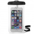Universal PVC + ABS Waterproof Case Bag w/ Neck Strap for Samsung / IPHONE - White + Black