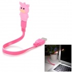 Cartoon Pig Style 8-LED White Light USB Light / Charging Cable - Deep Pink + Pink