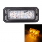 MZ Wired 9W 3-LED Car Flashing Warning Signal Lamp Yellow Light 597nm 540lm - Black (12~24V)