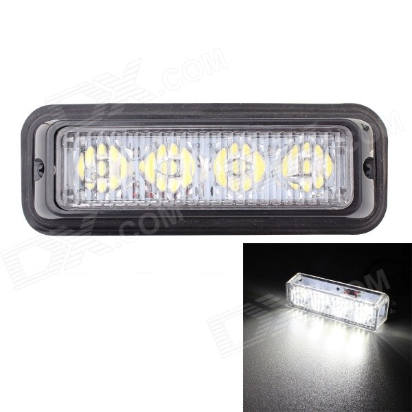 MZ 12W White 4-LED Car Flashing Warning Signal Lamp - Black (12~24V)Off-Road Lights<br>Color BIN4LED WhiteModelN/AQuantity1 DX.PCM.Model.AttributeModel.UnitMaterialPlasticForm  ColorBlackEmitter TypeLEDChip BrandOthers,N/AChip TypeN/ATotal Emitters4Power12WColor Temperature6500 DX.PCM.Model.AttributeModel.UnitTheoretical Lumens840 DX.PCM.Model.AttributeModel.UnitActual Lumens720 DX.PCM.Model.AttributeModel.UnitRate Voltage12~24VWaterproof FunctionYesConnector TypeOthers,WiredOther FeaturesWire length: 95cmApplicationSignal lightPacking List1 x LED signal light2 x Screws<br>
