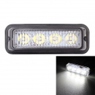 MZ Wired 12W 4-LED Car Flashing Warning Signal Lamp White Light 6500K 720lm - Black (12~24V)