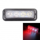 MZ Wired 12W 4-LED Car Flashing Warning Signal Lamp White + Red Light 6500K / 635nm 720lm (12~24V)
